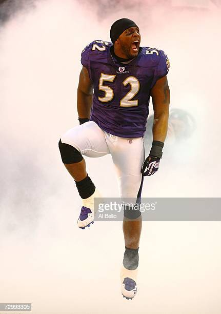 Ray Lewis of the Baltimore Ravens screams to the crowd before taking on the Indianapolis Colts in their AFC Divisional Playoff game on January 13...