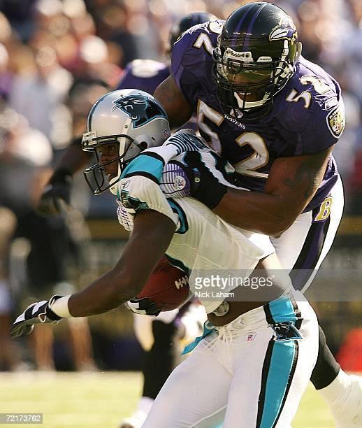 Ray Lewis of the Baltimore Ravens tackles Keyshawn Johnson of the Carolina Panthers on October 15, 2006 at M&T Bank Stadium in Baltimore, Maryland....