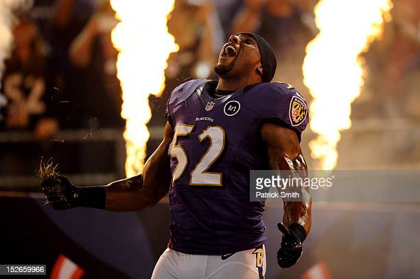 Ray Lewis of the Baltimore Ravens takes the field during player introductions against the New England Patriots at M&T Bank Stadium on September 23,...