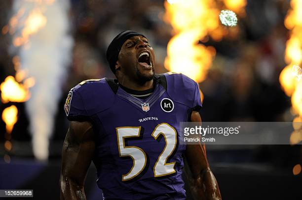 Ray Lewis of the Baltimore Ravens takes the field during player introductions against the New England Patriots at MT Bank Stadium on September 23...