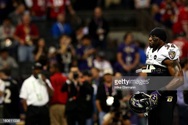 Ray Lewis of the Baltimore Ravens warms up prior to Super Bowl XLVII against the San Francisco 49ers at the MercedesBenz Superdome on February 3 2013...