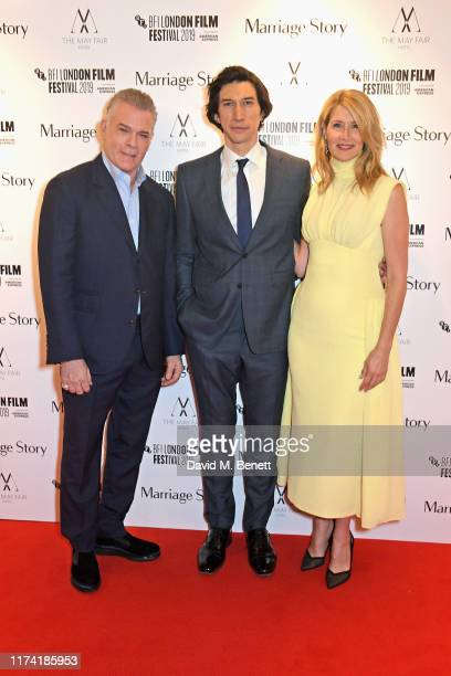 """Ray Liotta, Adam Driver and Laura Dern attend the UK Premiere of """"Marriage Story"""" during the 63rd BFI London Film Festival at Odeon Luxe Leicester..."""