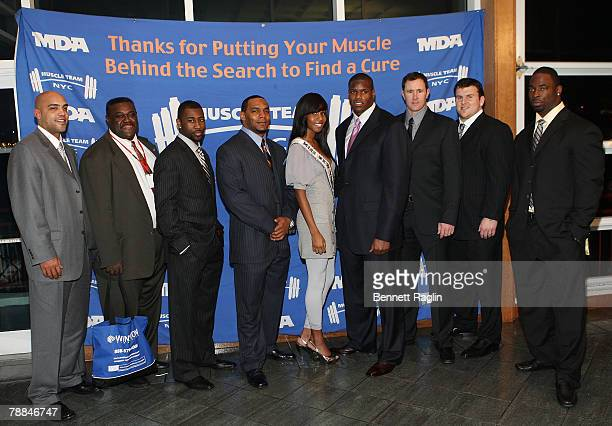Ray Lucus, Gregory Murphy,Victor Hobson,Danielle Roundtree,D'Brickashaw Ferguson,Ben Graham, Chris Snee, and Justin Tuck attend the 11th Annual...
