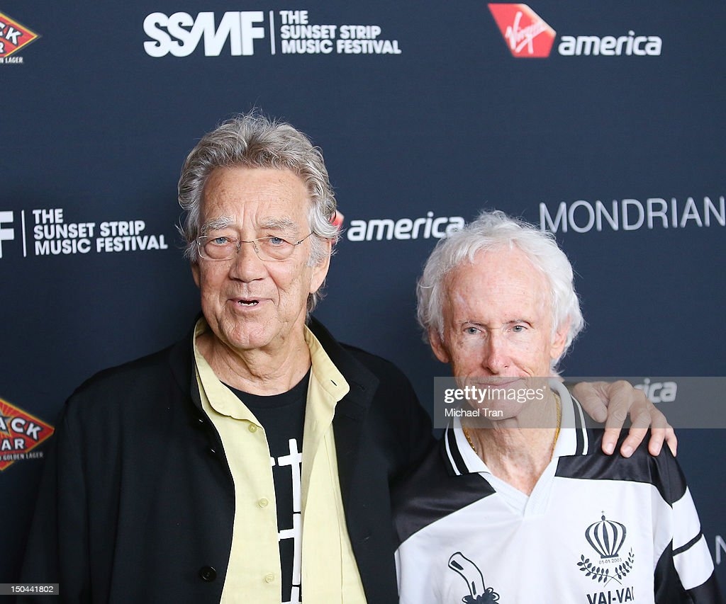 Ray Manzarek (L) and Robby Krieger of The Doors arrive at The 5th Annual Sunset Strip Music Festival party held at SkyBar at the Mondrian Los Angeles on August 17, 2012 in West Hollywood, California.