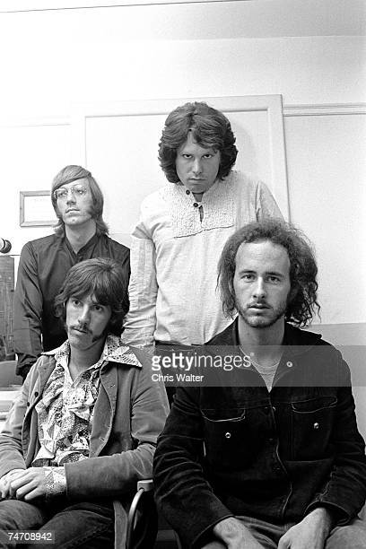"""Ray Manzarek, Jim Morrison, John Densmore and Robby Krieger of The Doors, in London for """"Top of the Pops"""", 1968 in London, United Kingdom."""
