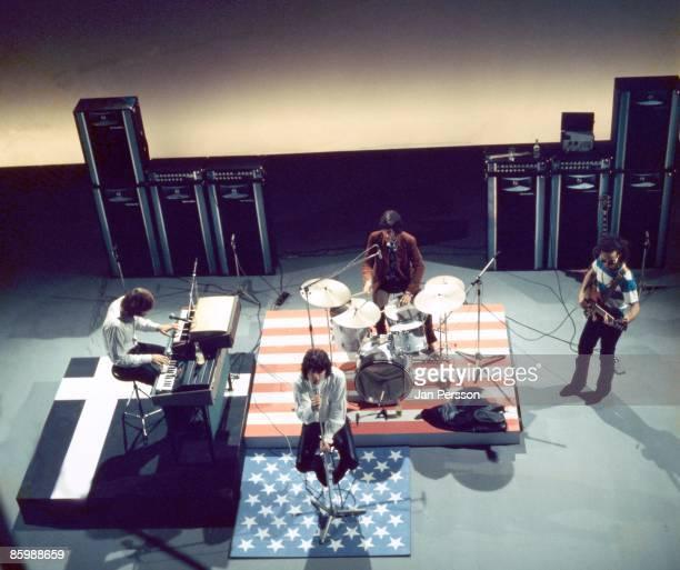 Ray Manzarek, Jim Morrison, John Densmore and Robby Krieger of The Doors perform in a TV studio in Copenhagen, Denmark on September 18 1968.