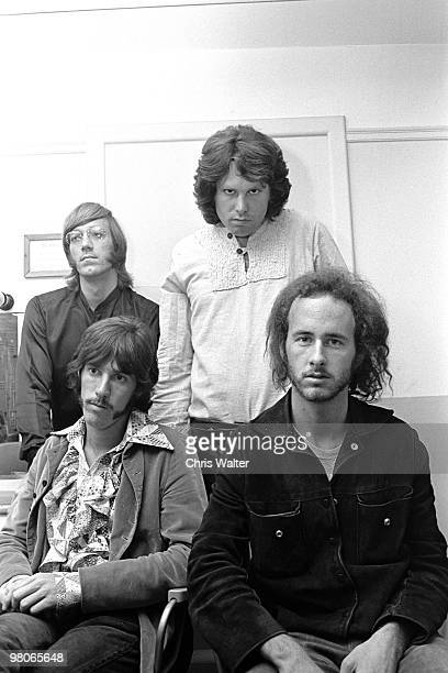 """Ray Manzarek, Jim Morrison, John Densmore and Robby Krieger of The Doors, in London for """"Top of the Pops"""", 1968"""