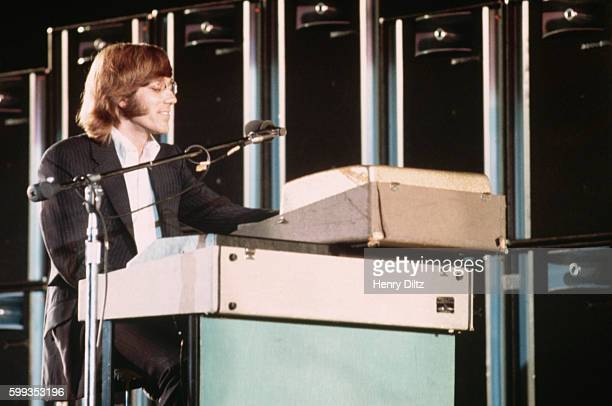 Ray Manzarek of the Doors plays the organ on stage in the Hollywood Bow Los Angeles California USA circa 1970