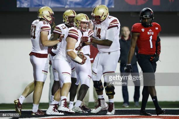 Ray Marten of the Boston College Eagles celebrates after a fouryard touchdown reception against the Northern Illinois Huskies in the third quarter of...