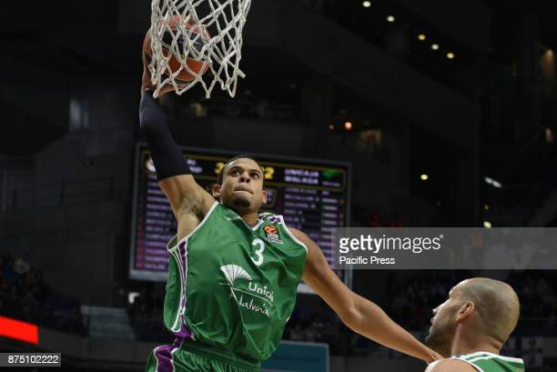 Ray Mccallum #3 of Unicaja in action during the Euroleague basketball match between Real Madrid and Unicaja Málaga played at WiZink center in Madrid...