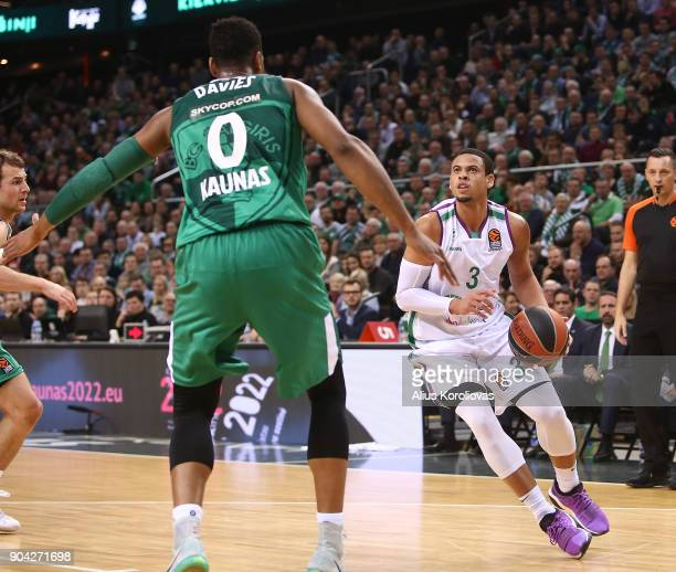 Ray McCallum #3 of Unicaja Malaga competes with Brandon Davies #0 of Zalgiris Kaunas in action during the 2017/2018 Turkish Airlines EuroLeague...