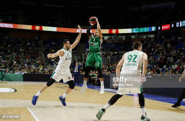 Ray McCallum #3 of Unicaja Malaga in action during the 2017/2018 Turkish Airlines EuroLeague Regular Season Round 7 game between Unicaja Malaga and...