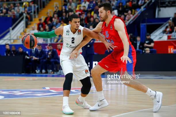 Ray McCallum of Darussafaka Tekfen in action against Alec Peters of CSKA Moscow during Turkish Airlines Euroleague match between CSKA Moscow and...