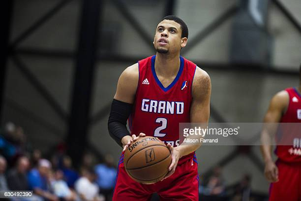 Ray McCallum of the Grand Rapids Drive shoots a foul shot against the Maine Red Claws at the DeltaPlex Arena on December 23 2016 in Walker Michigan...