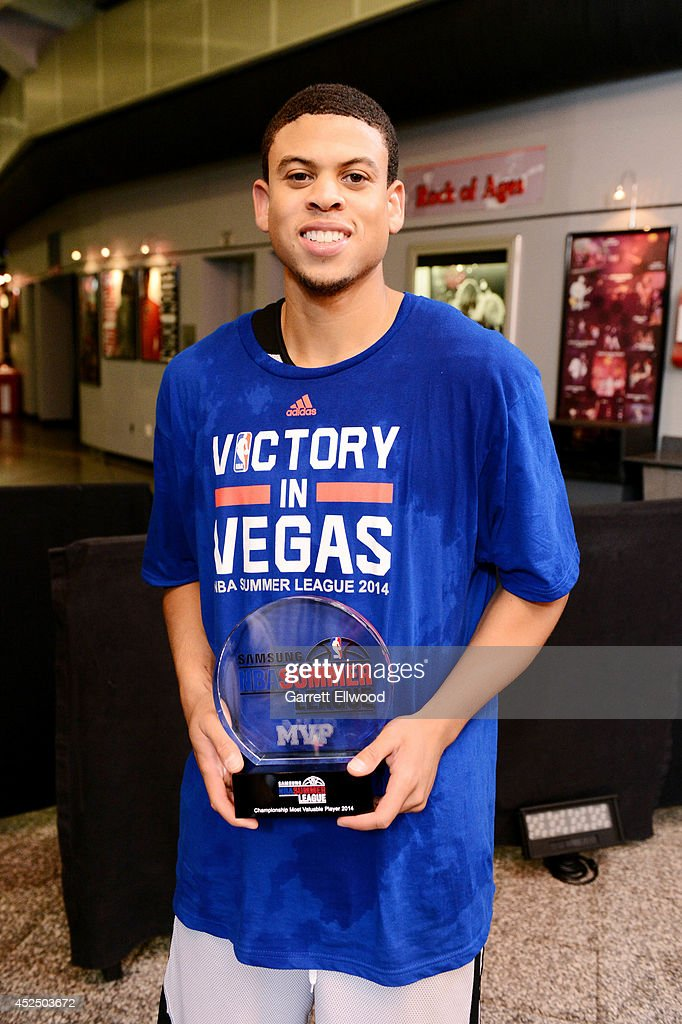 Ray McCallum #3 of the Sacramento Kings poses for a picture with the MVP Award after defeating the Houston Rockets during the Samsung NBA Summer League 2014 on July 21, 2014 at the Thomas & Mack Center in Las Vegas, Nevada.