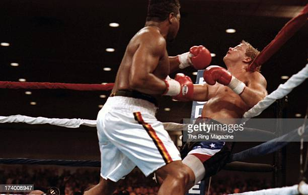 Ray Mercer knocks out Tommy Morrison during the fight at the Convention Center in Atlantic City New Jersey Ray Mercer won the WBO heavyweight title...