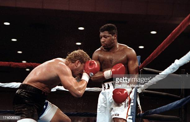 Ray Mercer lands a punch against Tommy Morrison during the fight at the Convention Center in Atlantic City New Jersey Ray Mercer won the WBO...