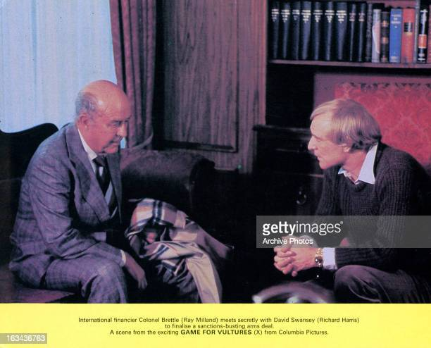 Ray Milland meets secretly with Richard Harris in a scene from the film 'Game For Vultures', 1979.