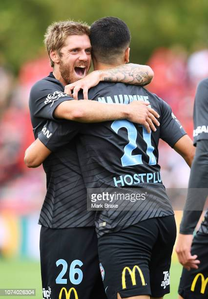 Ray Najjarine of Melbourne City celebrates after scoring his teams first goal with Luke Brattan of Melbourne City during the round eight ALeague...