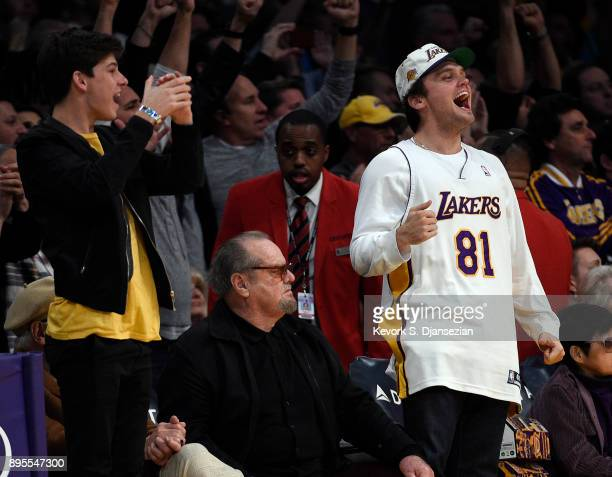 Ray Nicholson, and his father actor Jack Nicholson attend a basketball game between the Golden State Warriors and Los Angeles Lakers where Laker...