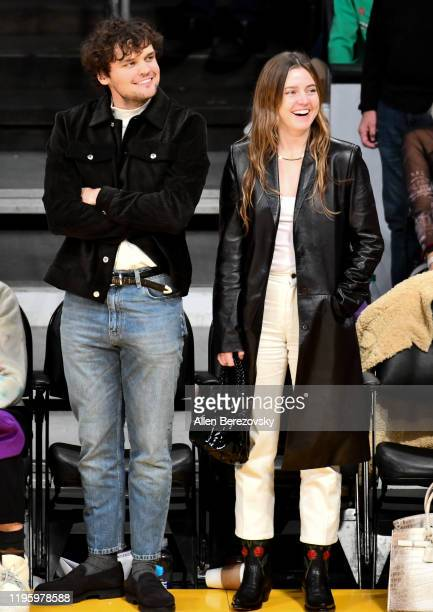 Ray Nicholson and Lorraine Nicholson attends a basketball game between the Los Angeles Lakers and the Los Angeles Clippers at Staples Center on...