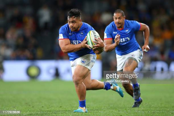 Ray Niuia of Samoa runs the ball during the International Test match between the Australian Wallabies and Manu Samoa at Bankwest Stadium on September...