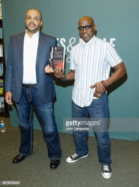 Ray Norman and Wesley Snipes sign copies of their new book 'Talon Of God' at Barnes Noble Tribeca on July 25 2017 in New York City