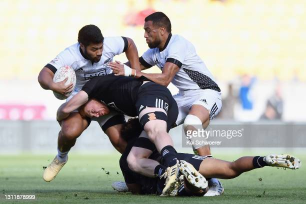 Ray Nu'u is tackled during the match between the All Blacks Sevens Black and All Blacks Sevens White at Sky Stadium, on April 11 in Wellington, New...