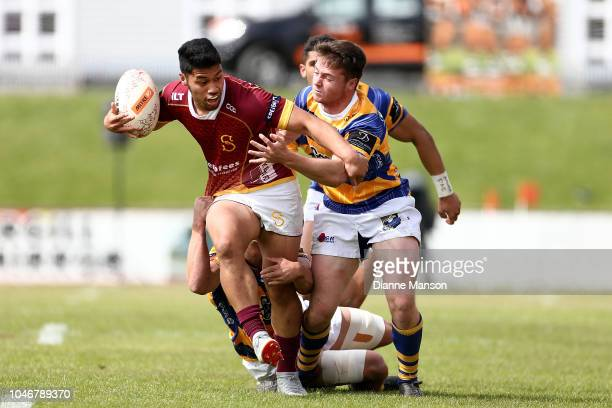 Ray Nu'u of Southland is tackled by Kaleb Trask of Bay of Plenty during the round eight Mitre 10 Cup match between Southland and Bay of Plenty at...