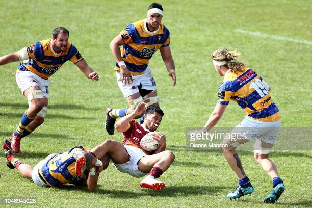 Ray Nu'u of Southland is tackled during the round eight Mitre 10 Cup match between Southland and Bay of Plenty at Rugby Park Stadium on October 7...