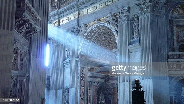 Ray of light in St. Peter's Basilica. Vatican.