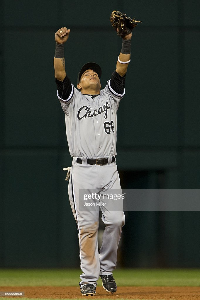 Ray Olmedo #66 of the Chicago White Sox celebrates after the White Sox defeated the Cleveland Indians at Progressive Field on October 3, 2012 in Cleveland, Ohio. The White Sox defeated the Indians 9-0.