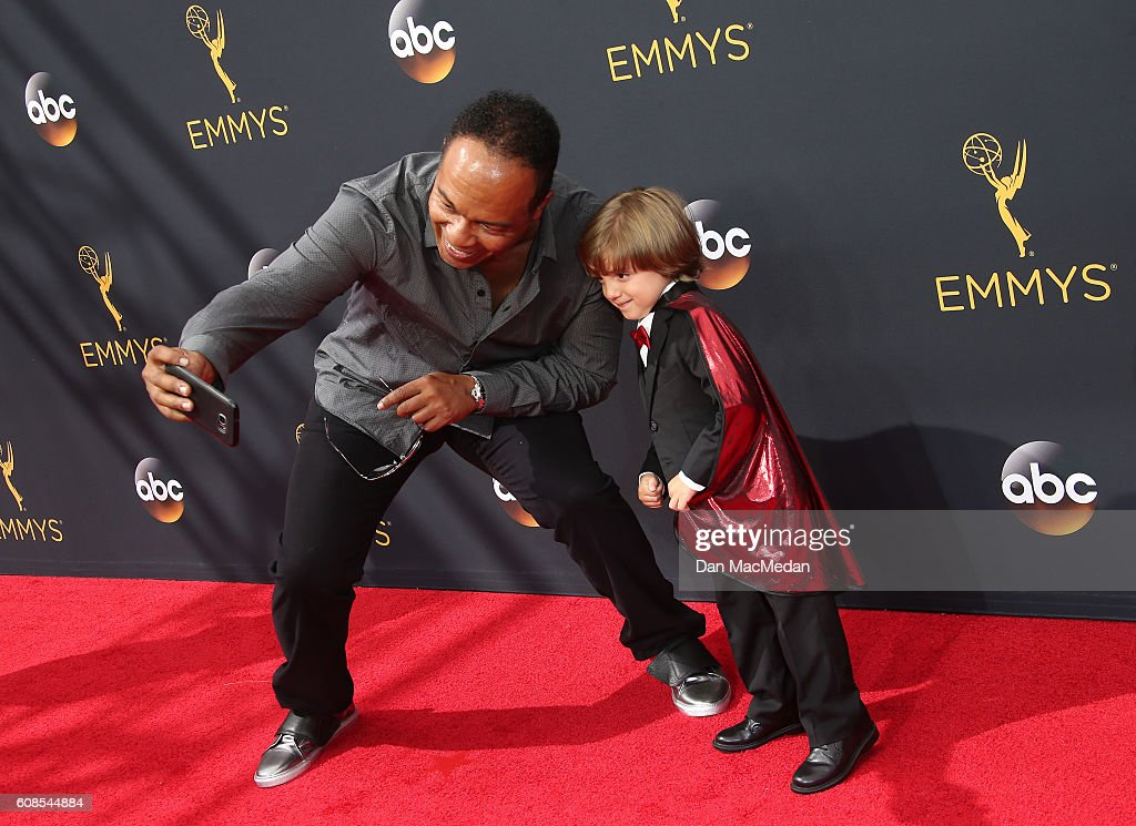 Ray Parker Jr (L) and Jeremy Maguire (R) attend the 68th Annual Primetime Emmy Awards at Microsoft Theater on September 18, 2016 in Los Angeles, California.