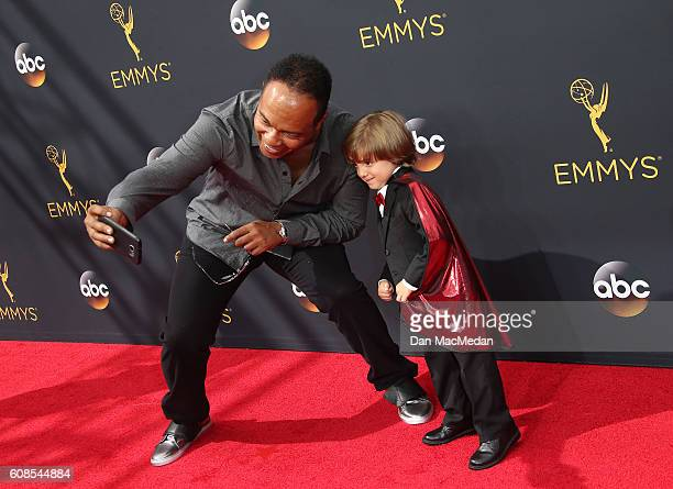 Ray Parker Jr and Jeremy Maguire attend the 68th Annual Primetime Emmy Awards at Microsoft Theater on September 18 2016 in Los Angeles California