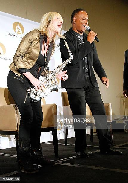 Ray Parker Jr. And Mindi Abair perform at the kick-off of GRAMMYs on the Hill Advocacy Day 2015 on Capitol Hill on April 16, 2015 in Washington, DC.