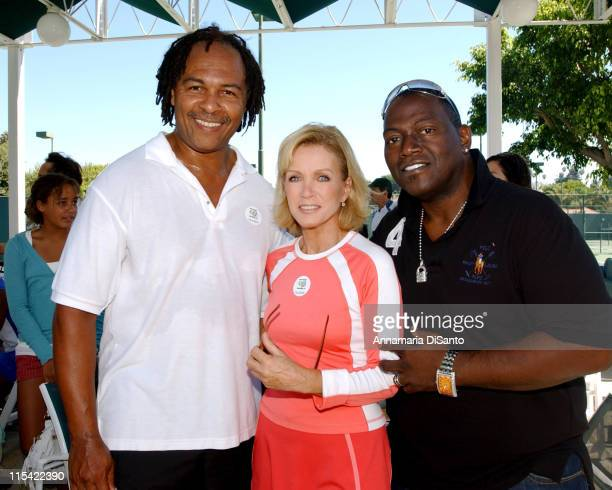 Ray Parker Jr Donna Mills and Randy Jackson during TJ Martell / Neil Bogart Foundation 2006 Racquet Rumble Tennis Tournament at Riviera Tennis Club...