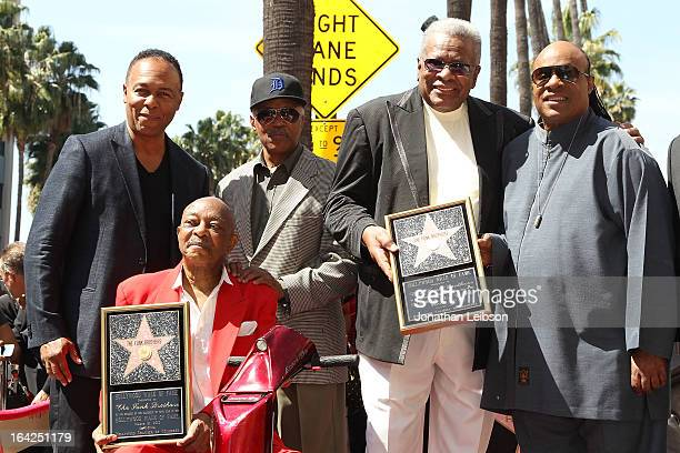 Ray Parker Jr., Eddie Willis, Paul Riser, Jack Ashford and Stevie Wonder attend the honoring of The Funk Brothers star on the Hollywood Walk of Fame...