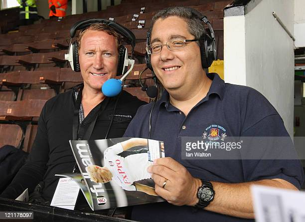 Ray Parlour and Ian Abrahams from Talksport Radio ahead of the Barclays Premier League match between Fulham and Aston Villa at Craven Cottage on...