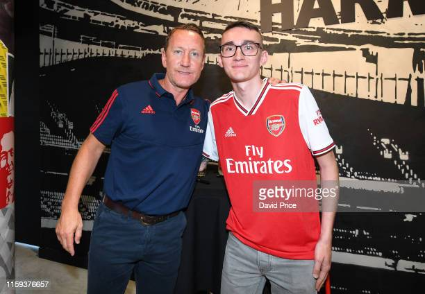 Ray Parlour meets the fans during the Arsenal 2019-20 Adidas home kit is launch at the Armoury Shop at Emirates Stadium on July 01, 2019 in London,...