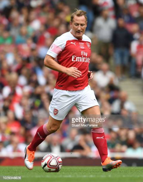 Ray Parlour of Arsenal controls the ball during the match between Arsenal Legends and Real Madrid Legends at Emirates Stadium on September 8, 2018 in...