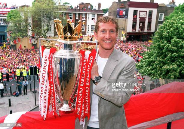 Ray Parlour of Arsenal during the Premier League Trophy parade on May 16, 2004 in London, England.