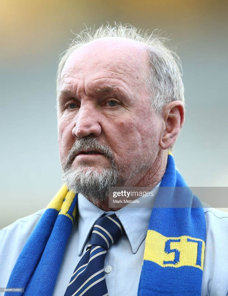 Ray Price looks on as Parramatta Eels honour its 'Hall of Fame' Members before the round seven NRL match between the Parramatta Eels and the Wests Tigers at ANZ Stadium on April 17, 2017 in Sydney, Australia.