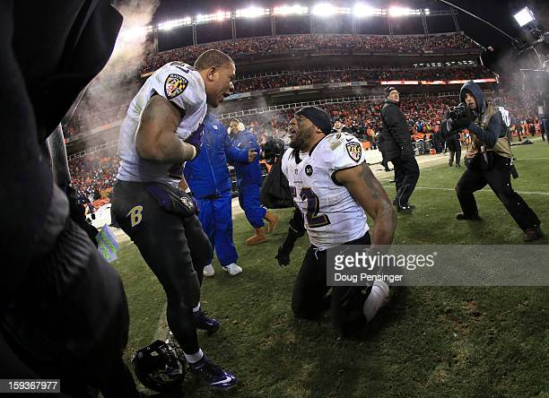 Ray Rice of and Ray Lewis of the Baltimore Ravens celebrate after the Ravens won 3835 in the second overtime against the Denver Broncos during the...