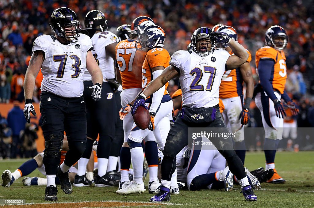 Ray Rice #27 of the Baltimore Ravens celebrates after he scored a 1-yard rushing touchdown in the third quarter against the Denver Broncos during the AFC Divisional Playoff Game at Sports Authority Field at Mile High on January 12, 2013 in Denver, Colorado.