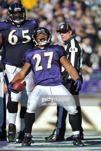 Ray Rice of the Baltimore Ravens celebrates his second touchdown against the Arizona Cardinals at M&T Bank Stadium on October 30. 2011 in Baltimore,...