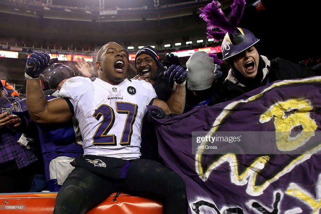 Ray Rice #27 of the Baltimore Ravens celebrates with fans in the stands after the Ravens won 38-35 in the second overtime against the Denver Broncos during the AFC Divisional Playoff Game at Sports Authority Field at Mile High on January 12, 2013 in Denver, Colorado.
