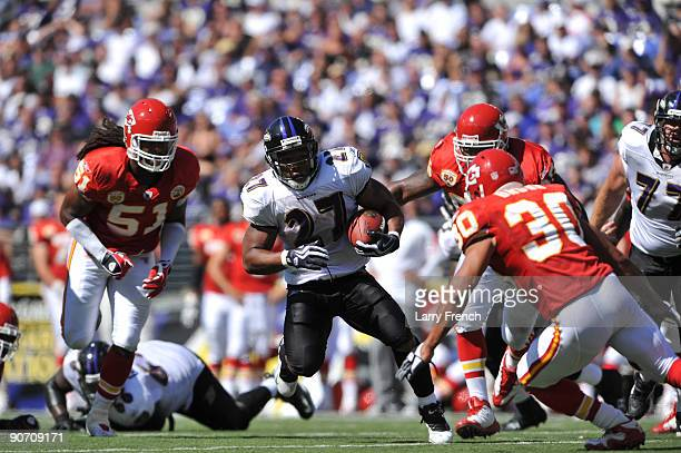 Ray Rice of the Baltimore Ravens runs the ball against the Kansas City Chiefs at M&T Bank Stadium on September 13, 2009 in Baltimore, Maryland. The...