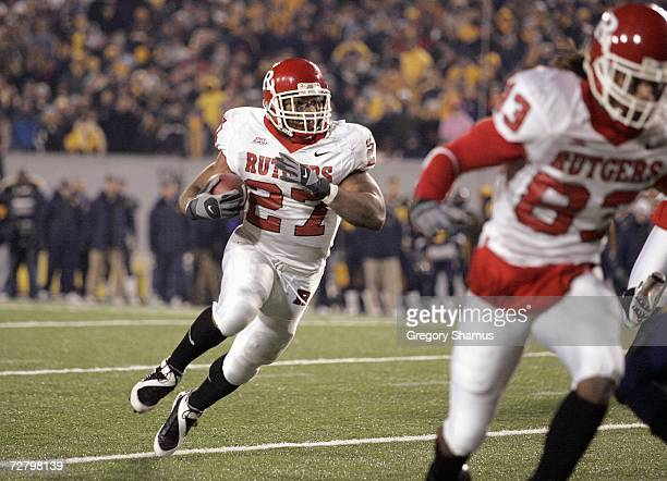 Ray Rice of the Rutgers Scarlet Knights carries the ball during a game against the West Virginia Mountaineers at Milan Puskar Stadium December 2 2006...