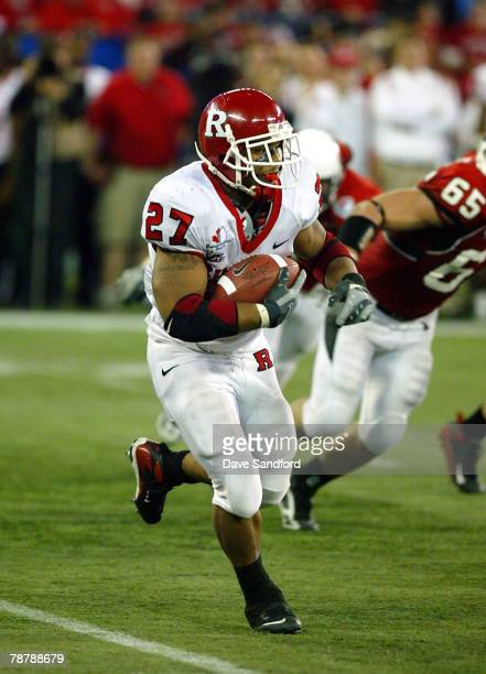 Ray Rice of the Rutgers Scarlet Knights runs the ball against the Ball State Cardinals during the International Bowl at the Rogers Centre on January...