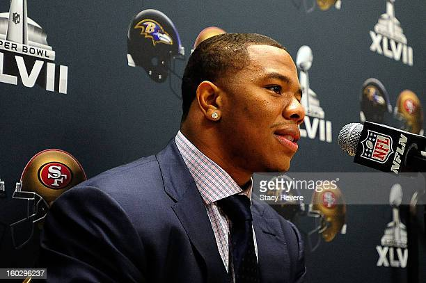 Ray Rice, running back for the Baltimore Ravens, speaks to the media during a media availability session for Super Bowl XLVII at the Hilton New...